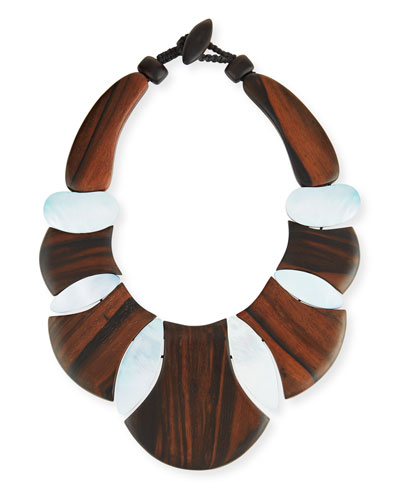 Bellissima Wood & Mother-of-Pearl Collar Necklace