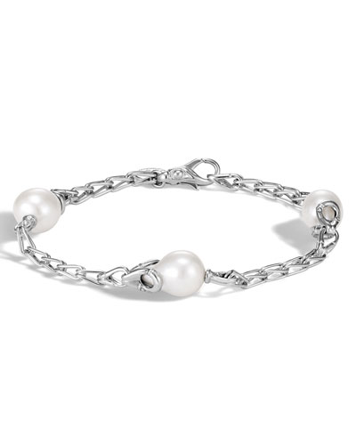 Bamboo Silver Station Bracelet with Pearls
