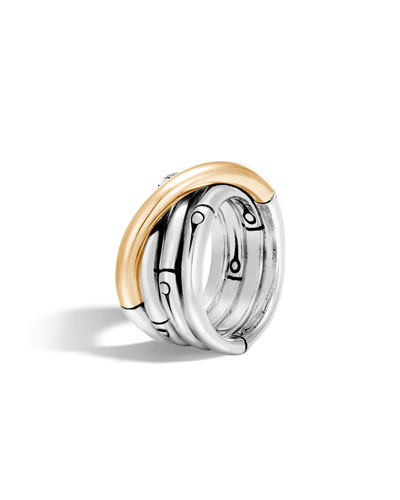 Bamboo 18K Gold & Silver Ring, Size 7