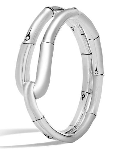 Bamboo Silver Medium Flex Cuff Bracelet