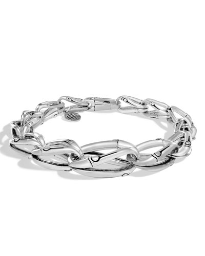 Bamboo Silver Graduated Link Bracelet