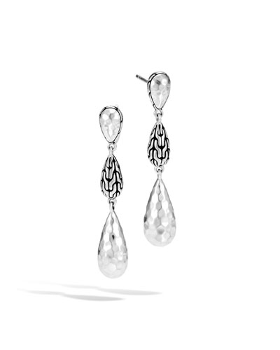 Classic Chain Hammered Silver Long Drop Earrings