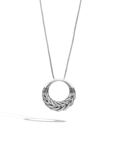 Classic Chain Diamond Circle Pendant Necklace, 32