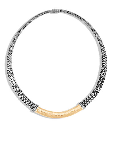 Classic Chain Hammered Necklace with Diamonds