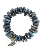 Irregular Labradorite Beaded Bracelet with Diamond Horn Charm