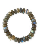 10mm Labradorite Beaded Bracelet with Blue Sapphire & Diamonds