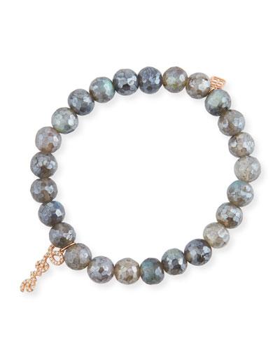 8mm Labradorite Beaded Bracelet with Diamond Love Script Charm