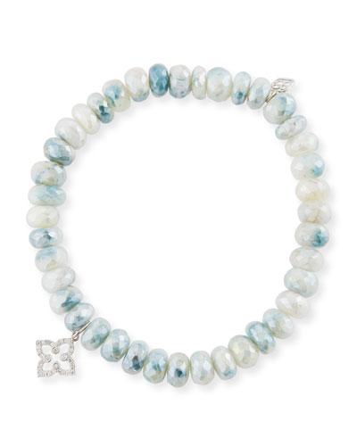 7mm Blue & White Corundum Beaded Bracelet with Diamond Moroccan Flower Charm