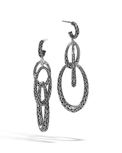 Classic Chain Silver Drop Oval Earrings