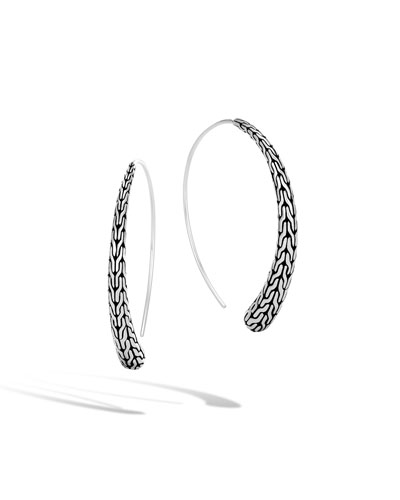 Classic Chain Silver Medium Thread-Through Hoop Earrings