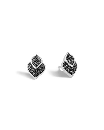 Legends Naga Silver Stud Earrings with Black Sapphire & Black Spinel
