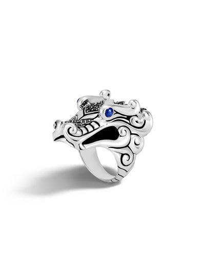 Legends Naga Silver Ring with Blue Sapphire Eyes, Size 7