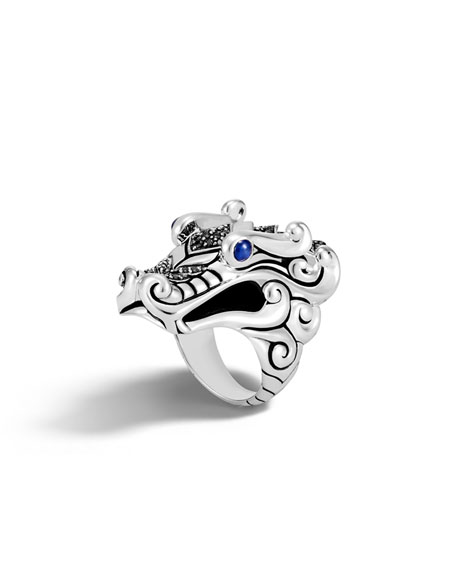 John Hardy Legends Naga Silver Ring with Blue Sapphire Eyes, Size 7