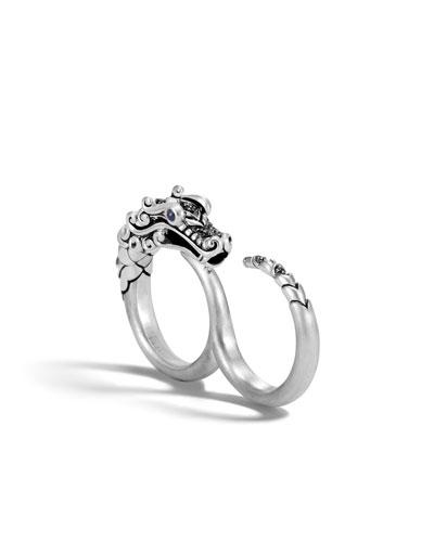 Legends Naga Silver Two-Finger Ring, Size 7