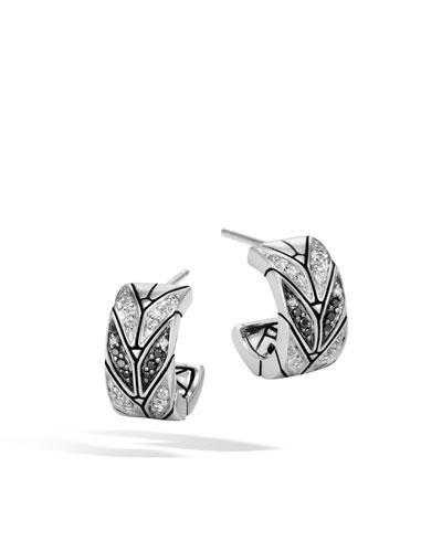 Modern Chain Extra-Small Black Spinel, Sapphire & Diamond Hoop Earrings