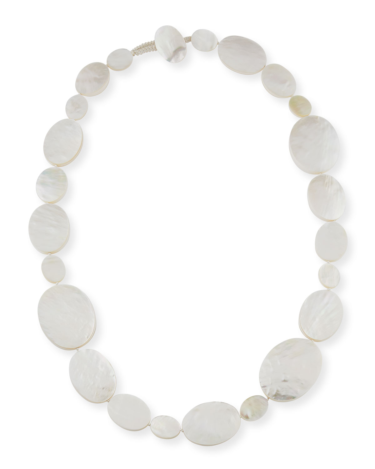 Single-Strand Oval Mother-of-Pearl Necklace