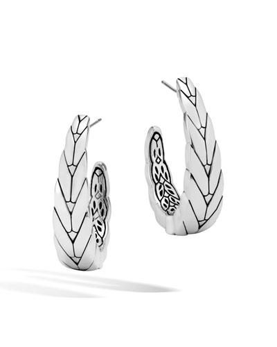 Modern Chain Silver Medium J Hoop Earrings