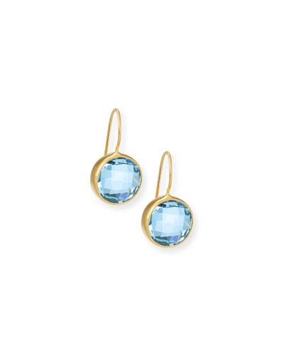Blue Topaz Circle Drop Earrings
