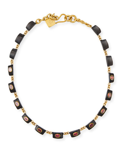 Zambarau Dark Horn Station Necklace