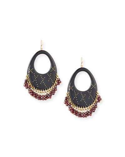 Vuka Dark Horn Open Hoop Earrings