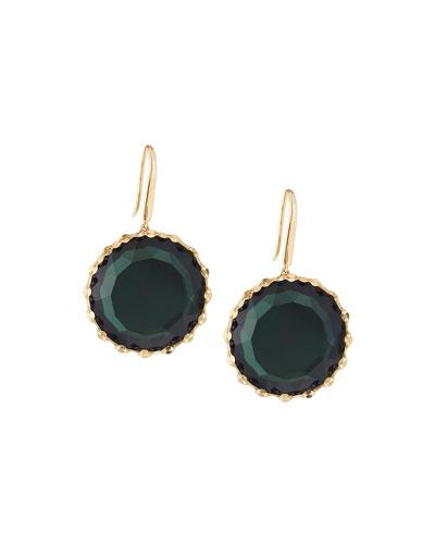 14k Midnight Round Drop Earrings, Green
