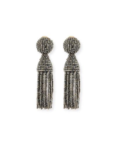 Short Beaded Tassel Clip Earrings