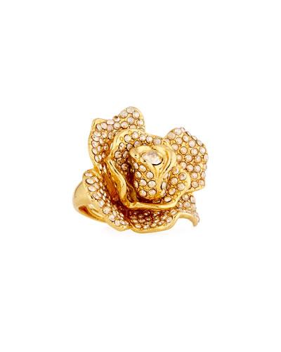 Pavé Crystal Flower Ring