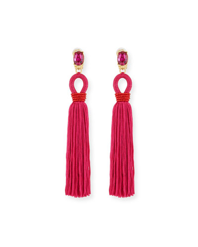 Long Silk Tassel Drop Clip-On Earrings