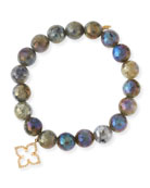Coated Labradorite Faceted Bead Bracelet with Diamond Moroccan Flower Charm