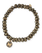 Champagne Pyrite Beaded Bracelet with Diamond Butterfly Medallion Charm
