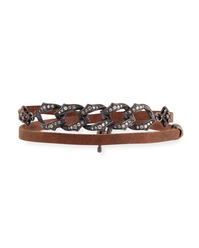 Old World Midnight Leather Link Bracelet with Diamonds
