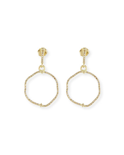 Old Word Sueno Wavy Circle Earrings with Diamonds