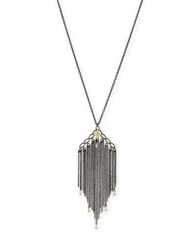 Old World Chain Tassel Necklace with Champagne Diamonds