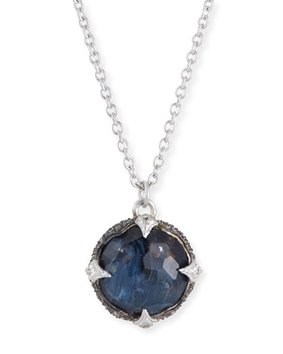New World Round Blue Pietersite Pendant Necklace with Diamonds