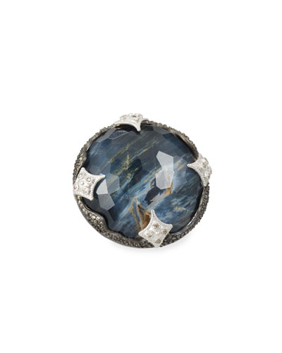 New World Scalloped Blue Pietersite Doublet Ring with Diamonds