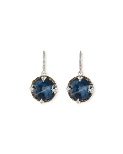 New World Round Pietersite Drop Earrings with Diamonds