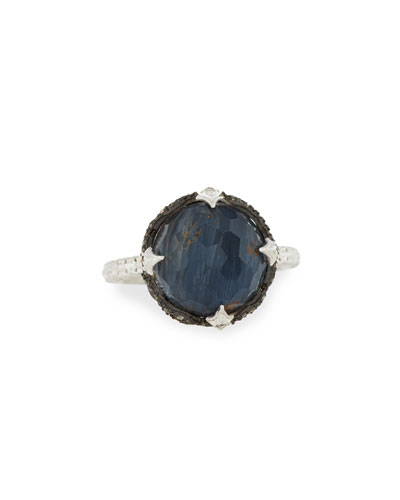New World Round Pietersite Doublet Ring with Diamonds