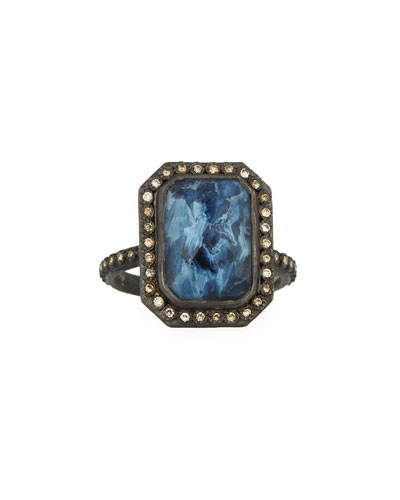 New World Emerald-Cut Blue Pietersite Doublet Ring with Diamonds