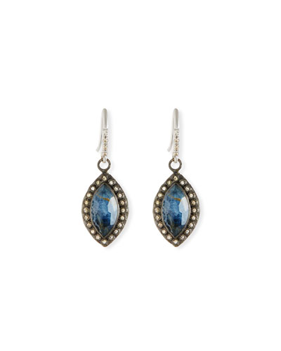 New World Pietersite Marquis Earrings with Diamonds