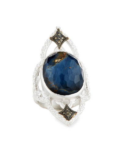 New World Blue Pietersite Open Scroll Ring with Diamonds