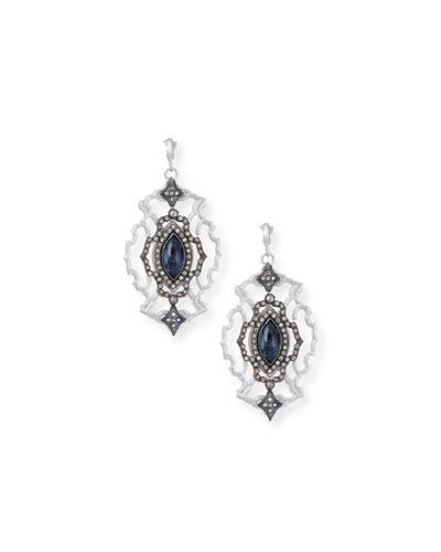 New World Large Open Scroll Marquis Blue Pietersite & Diamond Earrings
