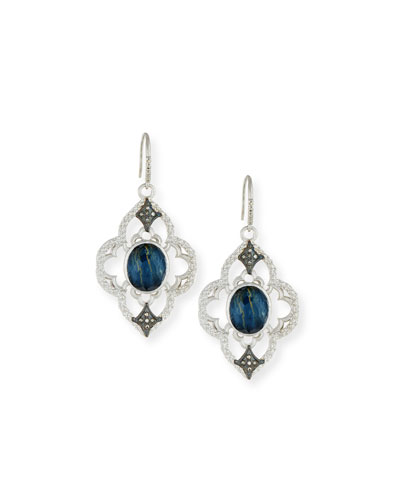 New World Open Scroll Pietersite Earrings with Diamonds