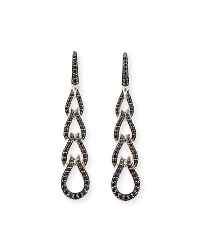 Classic Chain Four-Loop Earrings with Black Sapphires