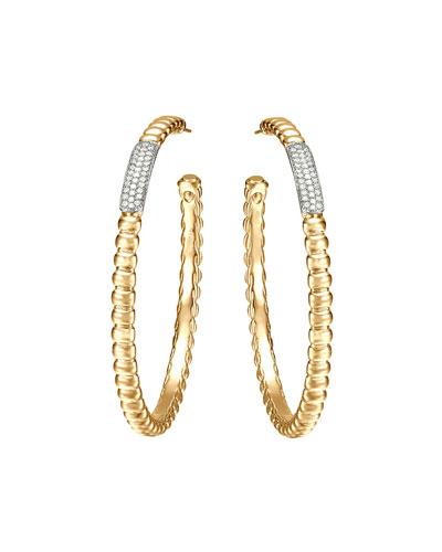 Gold Bedeg Pave Diamond Large Hoop Earrings