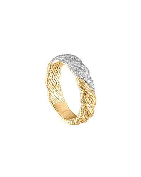 John Hardy Classic Chain Twisted 18k Diamond Band Ring, Size 7