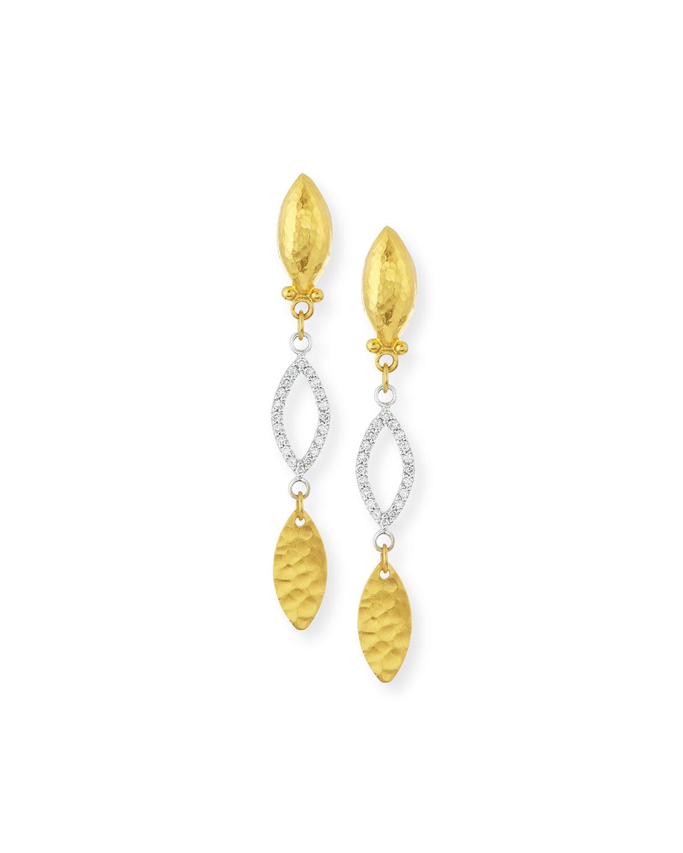 Willow 24k Gold & Diamond Triple-Drop Earrings