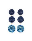 Beaded Three-Drop Ball Earrings