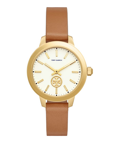 Collins Light Brown Leather Strap Watch