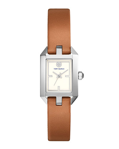 Dalloway Leather Strap Watch, Light Brown/White