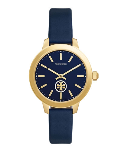 Collins Leather Strap Watch, Navy/Golden